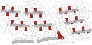 Lageplan mit Ergänzungsbauten und Neubau der Sparkassenfiliale Hennigsdorf