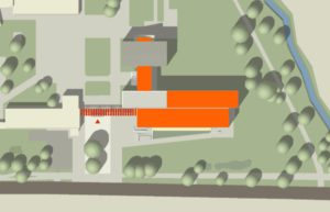 Lageplan der Röntgen Gesamtschule Zepernick mit orange makierten Anbau