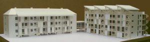 Modell Sanierung Nauener Str. 9-11 / Neubau Nauener Str. 7 mit Technikzentrale und Solardächern